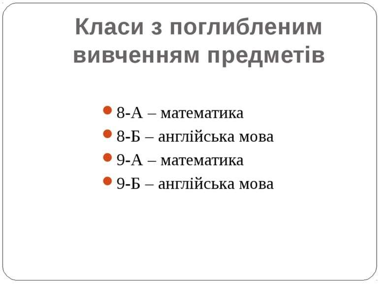 Класи з поглибленим вивченням предметів 8-А – математика 8-Б – англійська мов...