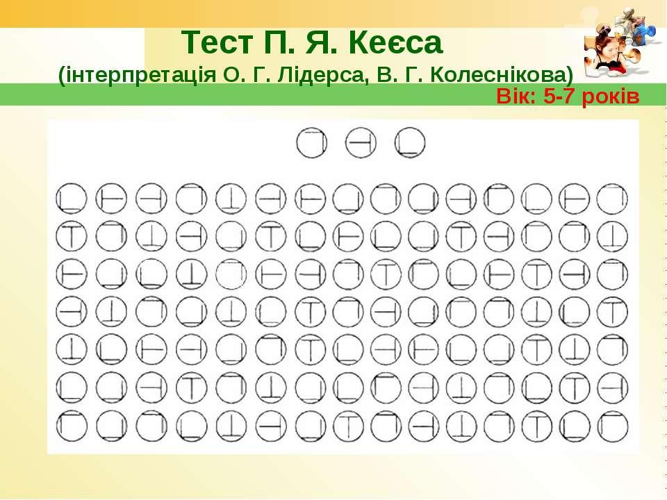 Тест П. Я. Кеєса (інтерпретація О. Г. Лідерса, В. Г. Колеснікова) Вік: 5-7 років