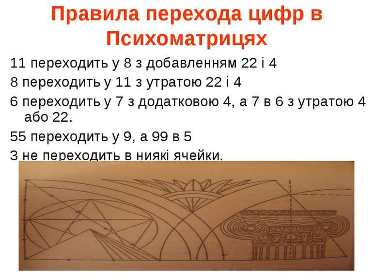 Правила перехода цифр в Психоматрицях 11 переходить у 8 з добавленням 22 і 4 ...