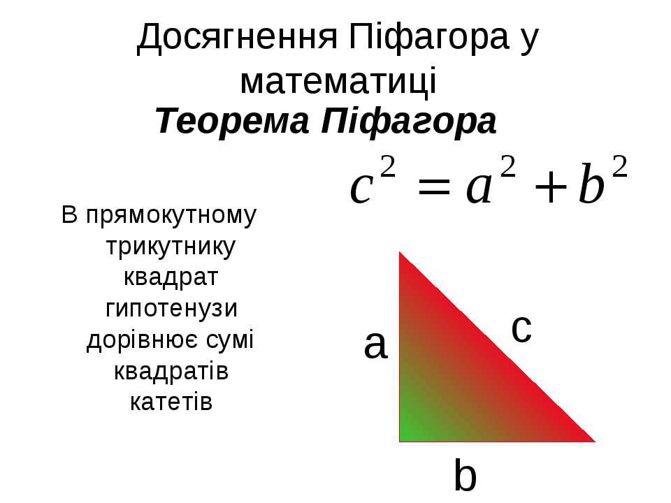 Теорема Піфагора В прямокутному трикутнику квадрат гипотенузи дорівнює сумі ...