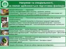 Напрями та спеціальності, за якими здійснюється підготовка фахівців Напрям пі...