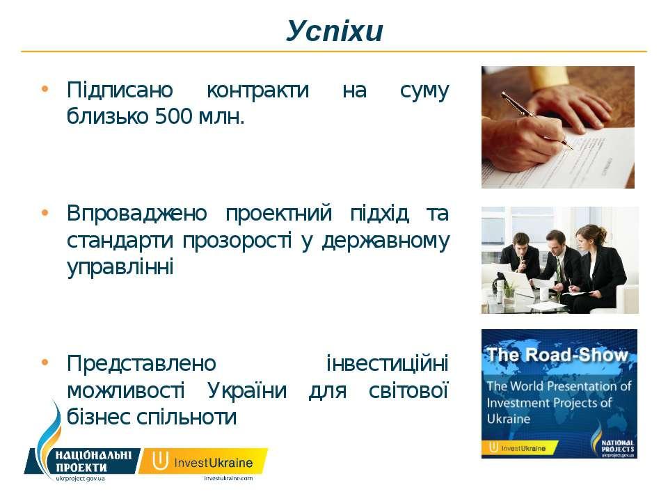 Успіхи Підписано контракти на суму близько 500 млн. Впроваджено проектний під...