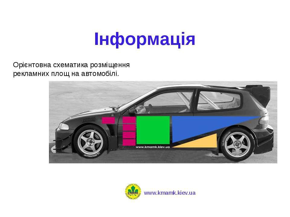 Інформація Орієнтовна схематика розміщення рекламних площ на автомобілі.