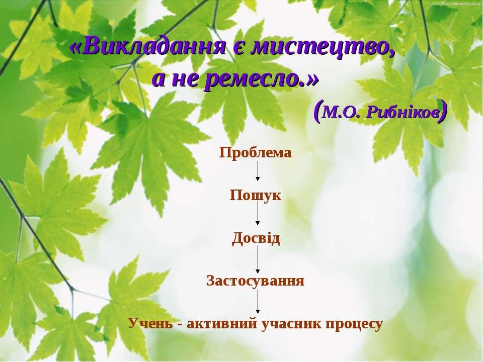 «Викладання є мистецтво, а не ремесло.» (М.О. Рибніков) Проблема Пошук Досвід...