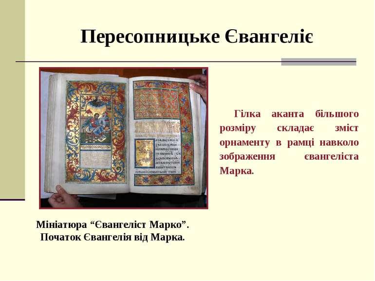 Пересопницьке Євангеліє Гілка аканта більшого розміру складає зміст орнаменту...