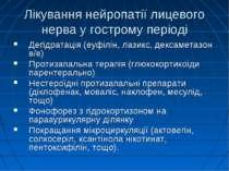 Лікування нейропатії лицевого нерва у гострому періоді Дегідратація (еуфілін,...