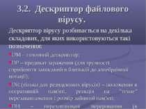 3.2. Дескриптор файлового вірусу. Дескриптор вірусу розбивається на декілька ...