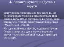 4. Завантажувальні (бутові) віруси Цей тип вірусів називають так через те, що...