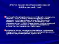 Клінічні прояви мікоплазменої пневмонії (В.І.Покровський, 1995) Інкубаційний ...