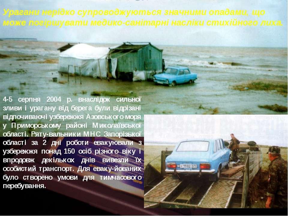 Урагани нерідко супроводжуються значними опадами, що може погіршувати медико-...