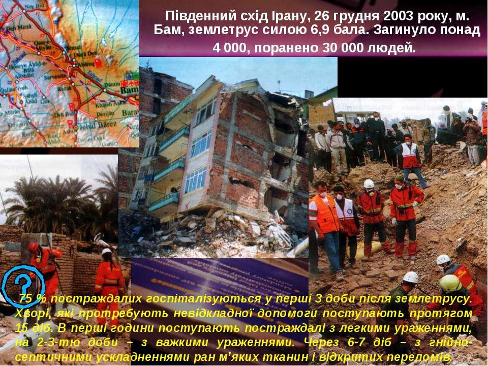 Південний схід Ірану, 26 грудня 2003 року, м. Бам, землетрус силою 6,9 бала. ...