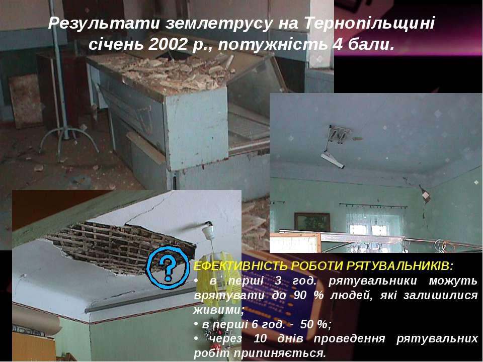 Результати землетрусу на Тернопільщині січень 2002 р., потужність 4 бали. ЕФЕ...