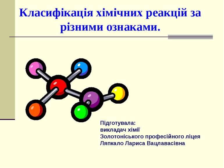 Класифікація хімічних реакцій за різними ознаками. Підготувала: викладач хімі...