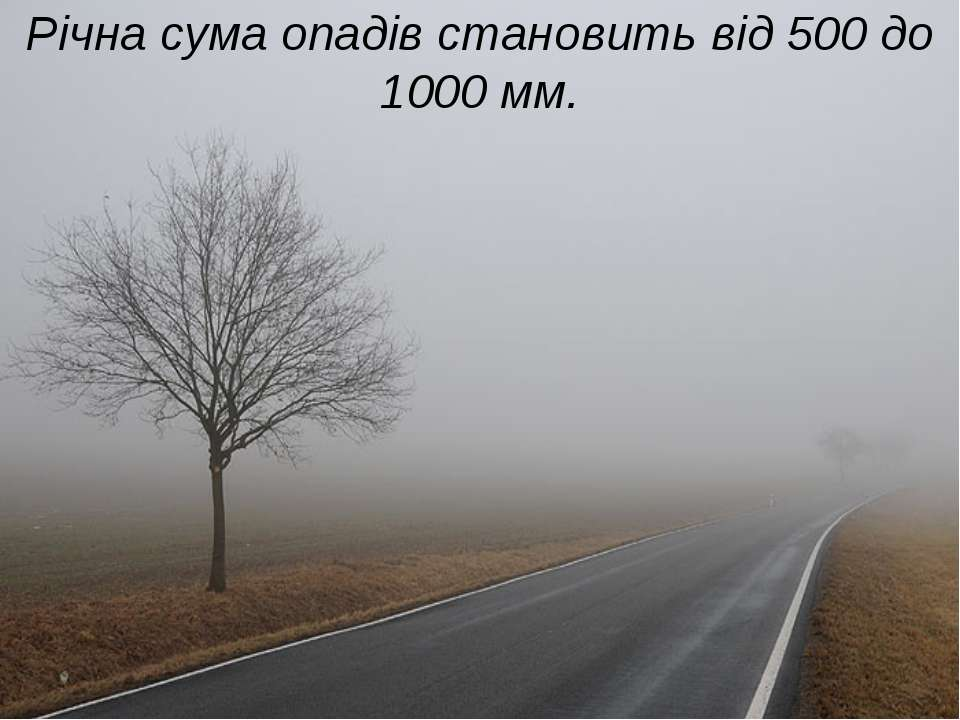 Річна сума опадів становить від 500 до 1000 мм.