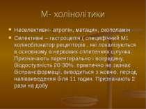 М- холінолітики Неселективні- атропін, метацин, скополамін Селективні – гастр...