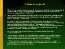Циклоспорин А Механізм дії циклоспорину А полягає в спотворенні клітинної опо...