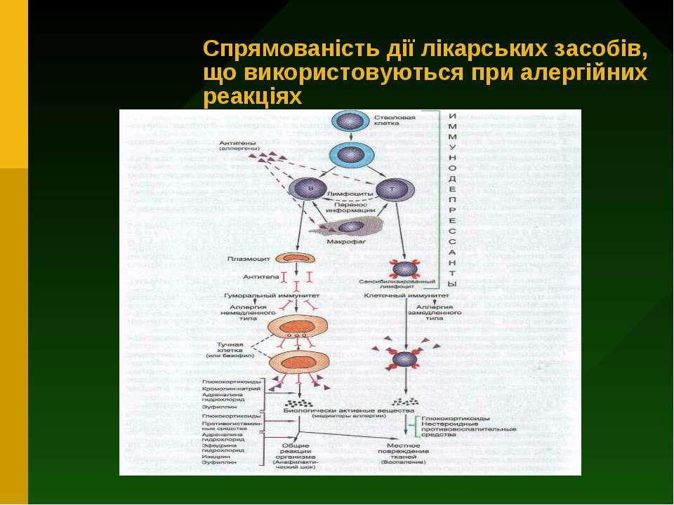 Спрямованість дії лікарських засобів, що використовуються при алергійних реак...