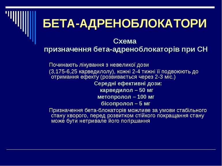 БЕТА-АДРЕНОБЛОКАТОРИ Схема призначення бета-адреноблокаторів при СН Починають...