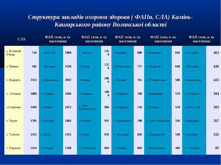 Структура закладів охорони здоровя ( ФАПи, СЛА) Камінь-Каширського району Вол...