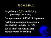 Ізоніазид Всередину – 0,6 г (0,45-0,9 г) 1 раз/добу (10 мг/кг) В/в краплинно ...