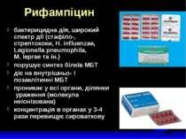 Рифампіцин бактерицидна дія, широкий спектр дії (стафіло-, стрептококи, H. in...