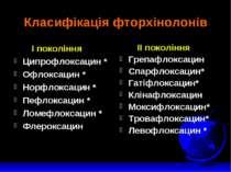 Класифікація фторхінолонів І покоління Ципрофлоксацин * Офлоксацин * Норфлокс...