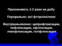 Призначають 1-2 рази на добу Перорально: всі фторхінолони Внутрішньовенно: ци...