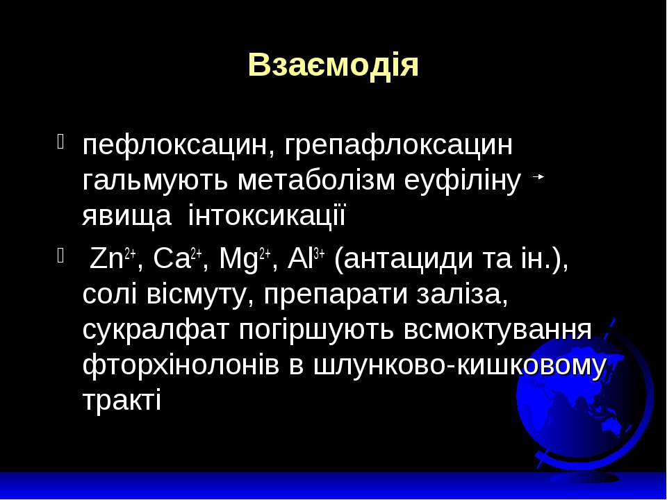 Взаємодія пефлоксацин, грепафлоксацин гальмують метаболізм еуфіліну явища інт...