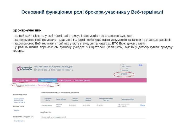 Основний функціонал ролі брокера-учасника у Веб-терміналі Брокер-учасник - на...