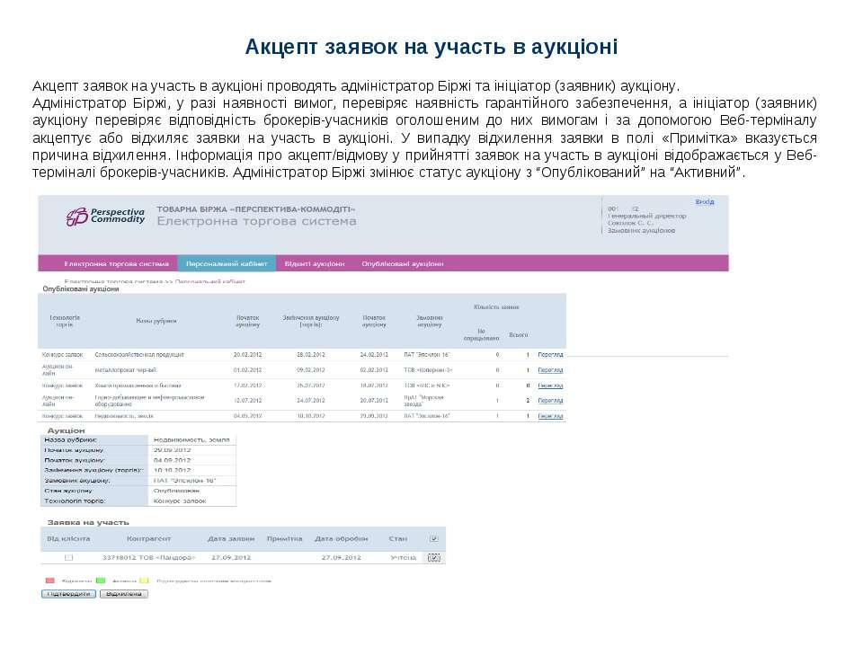 Акцепт заявок на участь в аукціоні Акцепт заявок на участь в аукціоні проводя...