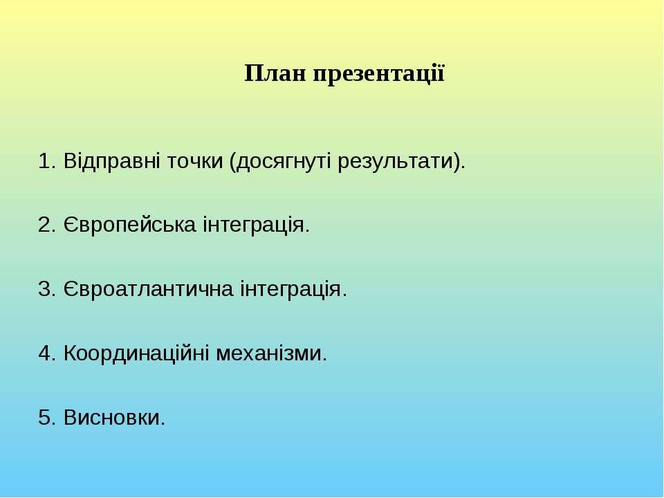 План презентації Відправні точки (досягнуті результати). Європейська інтеграц...