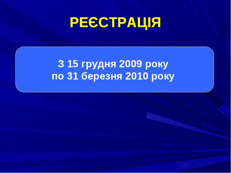 З 15 грудня 2009 року по 31 березня 2010 року РЕЄСТРАЦІЯ