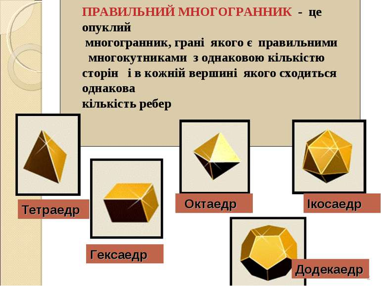 ПРАВИЛЬНИЙ МНОГОГРАННИК - це опуклий многогранник, грані якого є правильними ...