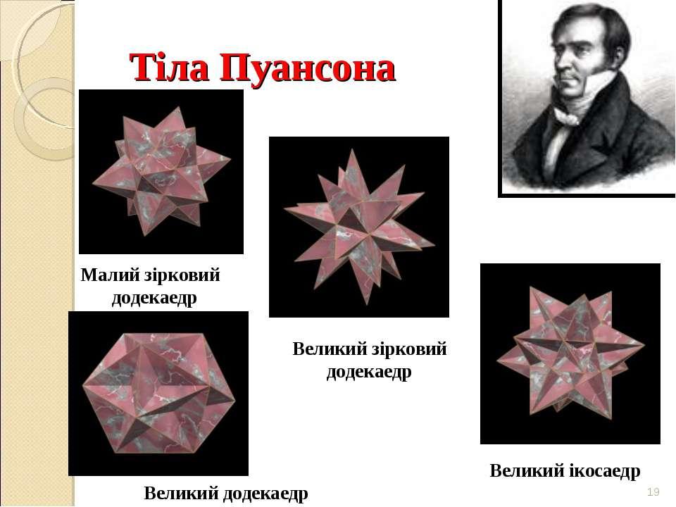 Тіла Пуансона * Малий зірковий додекаедр Великий зірковий додекаедр Великий д...