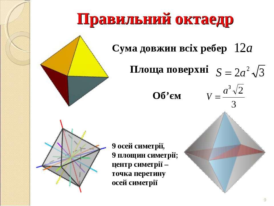 Правильний октаедр * Сума довжин всіх ребер Площа поверхні Об'єм 9 осей симет...