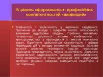 ІV рівень сформованості професійних компетентностей «найвищий» Впевненість і ...