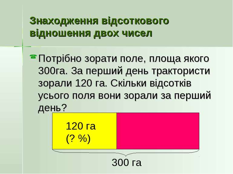Знаходження відсоткового відношення двох чисел Потрібно зорати поле, площа як...