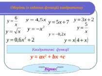 Оберіть із заданих функцій квадратичну Квадратичні функції Вірно! у = ах2 + b...