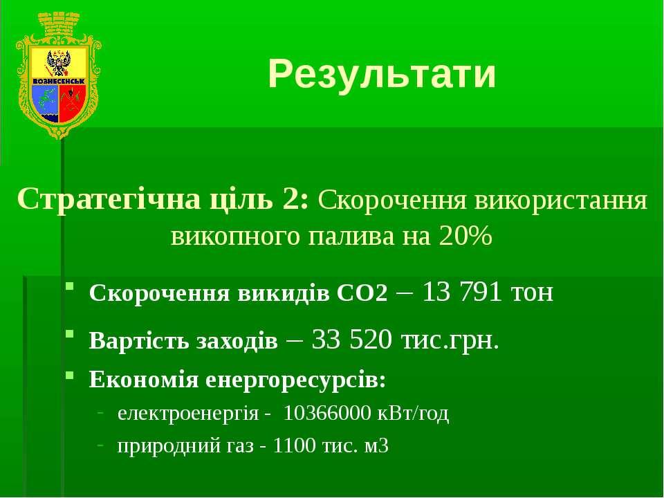 Результати Стратегічна ціль 2: Скорочення використання викопного палива на 20...