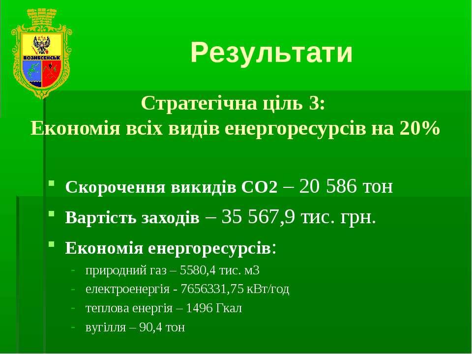 Результати Стратегічна ціль 3: Економія всіх видів енергоресурсів на 20% Скор...
