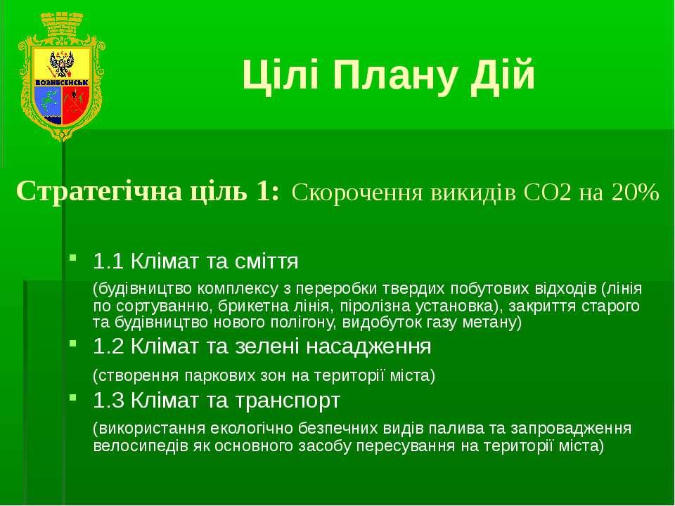 Стратегічна ціль 1: Скорочення викидів СО2 на 20% 1.1 Клімат та сміття (будів...