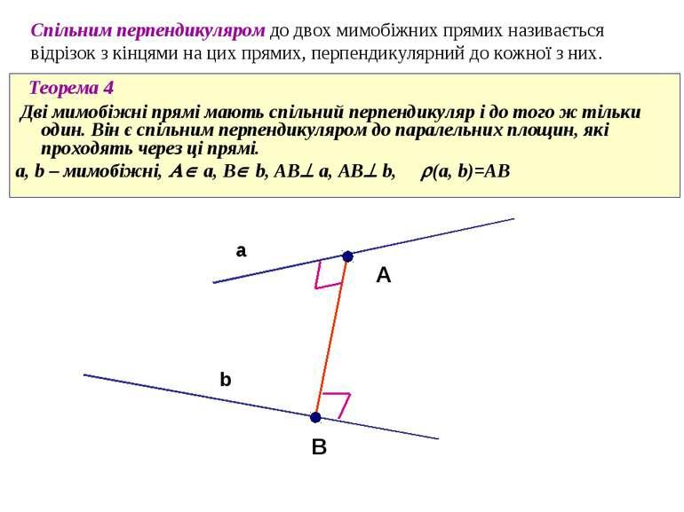 Cпільним перпендикуляром до двох мимобіжних прямих називається відрізок з кін...