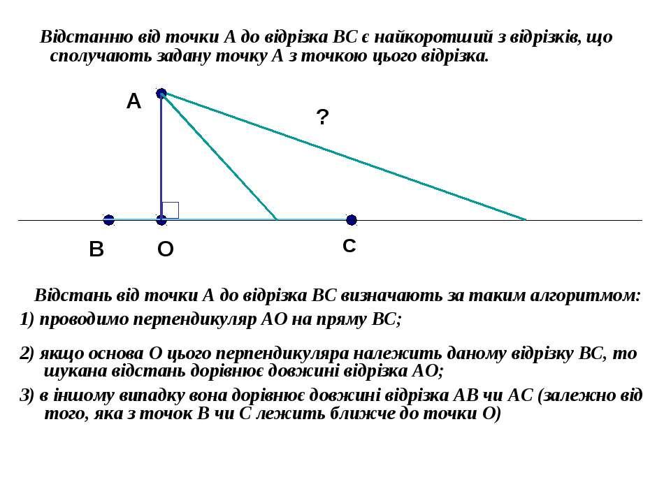 Відстанню від точки А до відрізка ВС є найкоротший з відрізків, що сполучають...