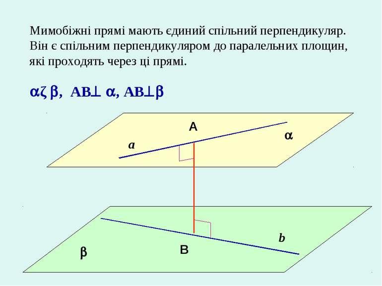 Мимобіжні прямі мають єдиний спільний перпендикуляр. Він є спільним перпендик...