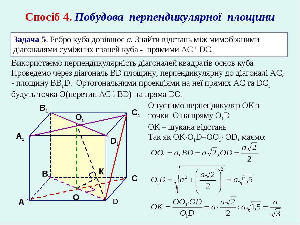 Спосіб 4. Побудова перпендикулярної площини Задача 5. Ребро куба дорівнює а. ...