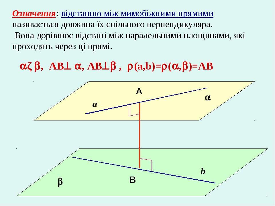 Означення: відстанню між мимобіжними прямими називається довжина їх спільного...