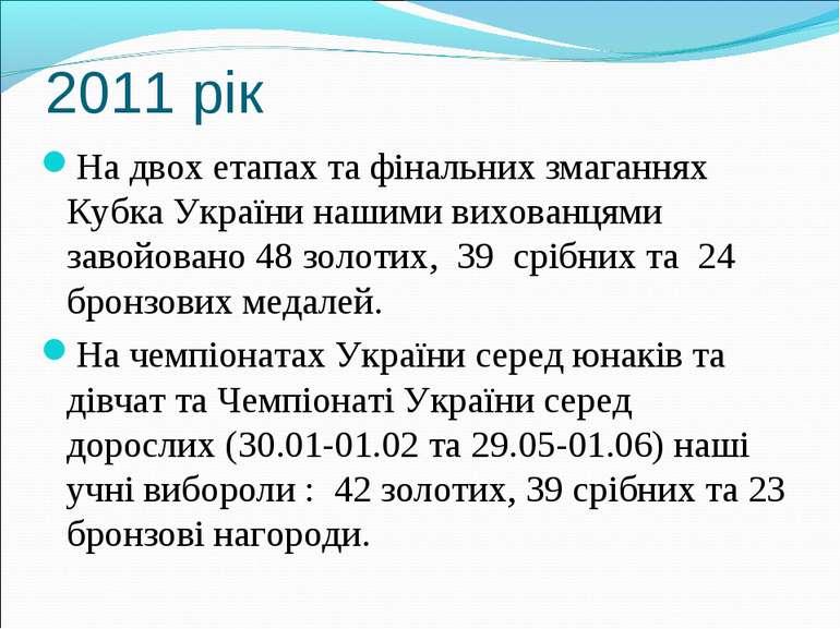 2011 рік На двох етапах та фінальних змаганнях Кубка України нашими вихованця...