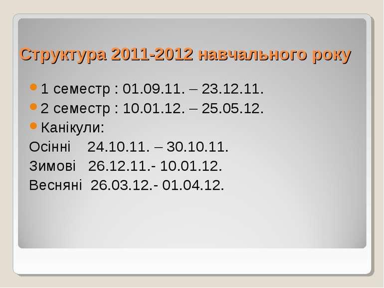 Структура 2011-2012 навчального року 1 семестр : 01.09.11. – 23.12.11. 2 семе...