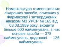 Номенклатура гомеопатичних лікарських засобів, описаних у Фармакопеї і затвер...