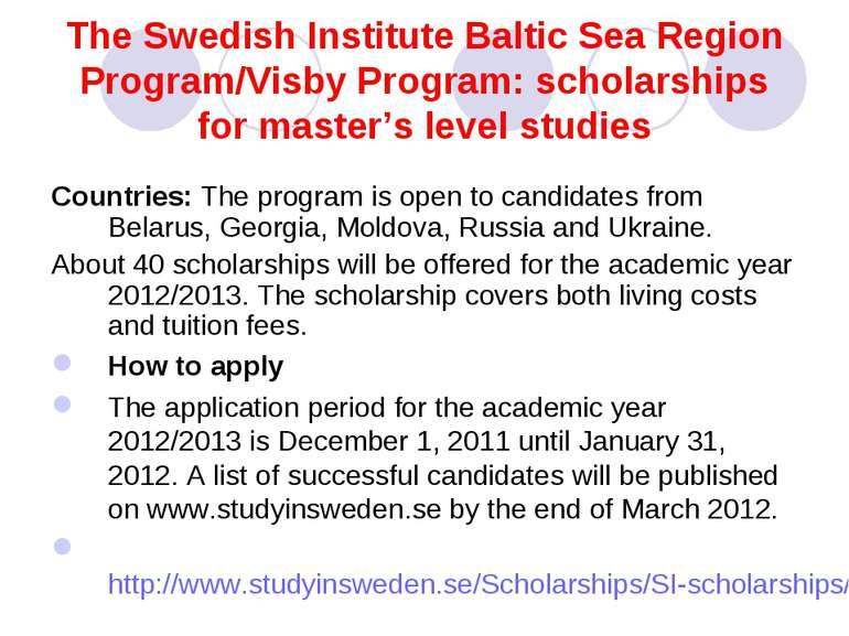 The Swedish Institute Baltic Sea Region Program/Visby Program: scholarships f...